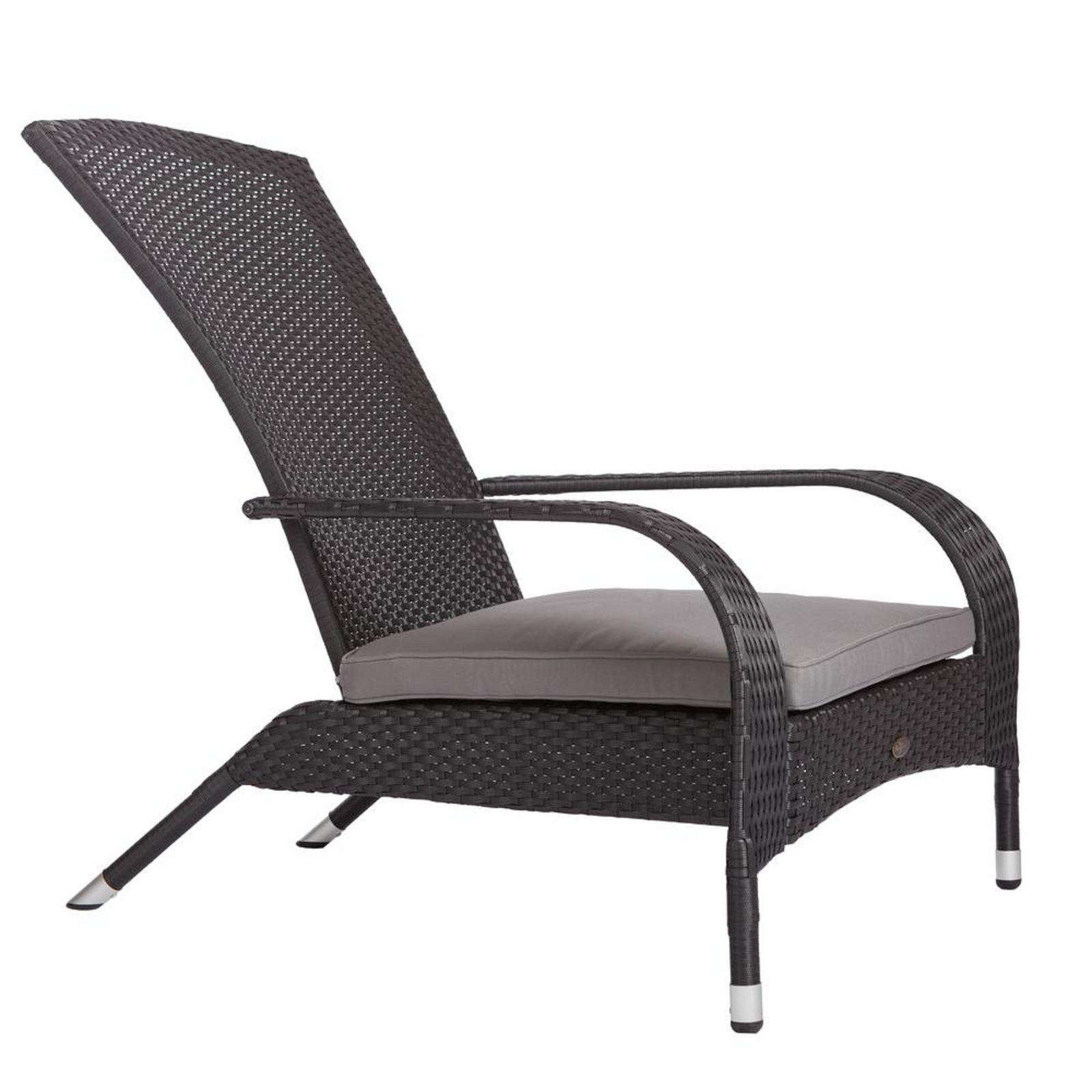 Outdoor Chair Furniture with Gray Cushion Black Wicker Plastic Poolside Patio