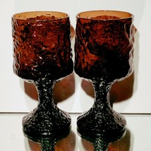 2 (Two) VTG LENOX IMPROMPTU Brown Hand Blown Crystal Wine Water Goblets ... - $28.49