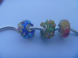 3 charms lampwork murano glass pandora style.hard to find  POSTAGE WORLD... - $9.90
