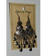 Dangle Earrings Teardrops Silver Tone New Spirit of Nature Layers Handmade - $13.85