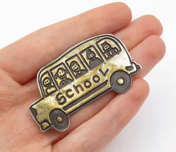 MEXICO 925 Silver - Vintage Two Tone Children's School Bus Brooch Pin - ... - $30.11