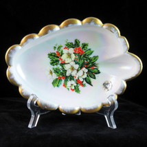 Westmoreland Glass iridescent scalloped Christmas holly candy dish gold ... - $15.07