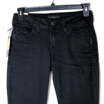 Silver Jeans Womens Suki Ankle Skinny Black Size 28 Distressed Edges - $79.19