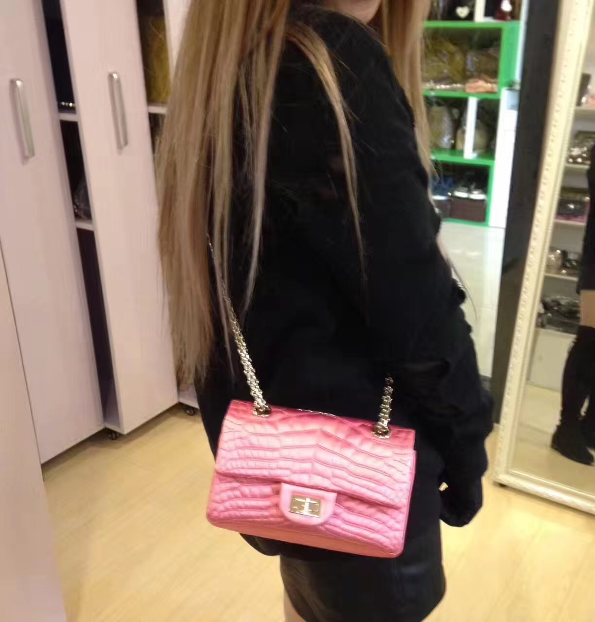 Authentic Chanel Classic 2.55 Reissue Mini Double Flap Bag Pink Silk GHW
