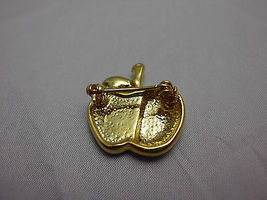 VTG Gold Tone Apple with Clear White & Green Rhinestone Pin Brooch image 3