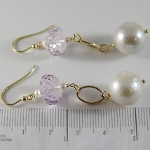 YELLOW GOLD EARRINGS 750 18K HANGING 6 CM, AMETHYST CUT CUSHION AND PEARLS image 2