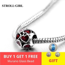 DIY 925 Sterling Silver Enamel Red Heart Love Beads fit Pandora Style Br... - $23.60