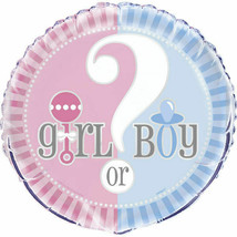 "Gender Reveal Party Supplies Girl Boy ? Baby Shower 18"" Foil Mylar Balloon - $2.81"