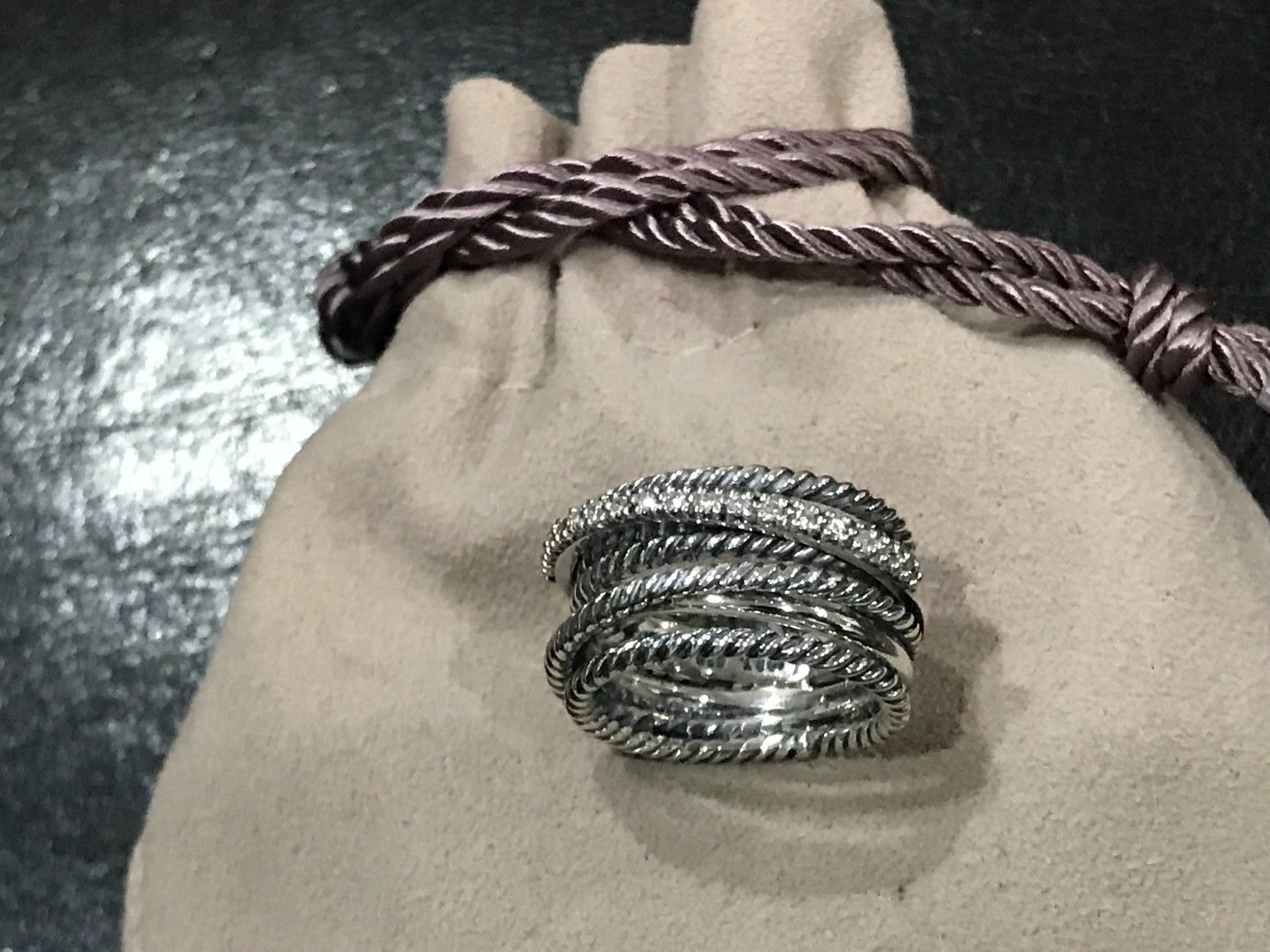 DAVID YURMAN STERLING SILVER DIAMOND CROSSOVER RING size 7.25