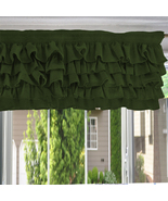 Chiffon OLIVE GREEN Ruffle Layered Window Valance any size  - $29.99+