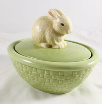 Hallmark Candy Dish Bunny Green Basket Ceramic Box with Lid, Easter Bask... - $24.75