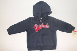 NWT OshKosh Infant Boys 24 Months Navy Blue Red Zip Front Hoodie Fleece Sweater - $7.99