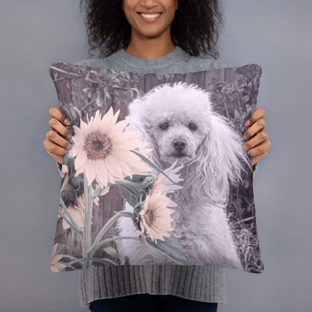 Primary image for Poodle Dog in Sunflowers Basic Home Decor Throw Pillow