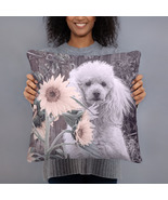 Poodle Dog in Sunflowers Basic Home Decor Throw Pillow - $30.00+
