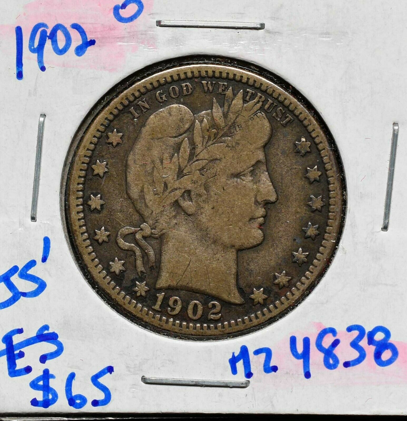 1902O Silver Barber Quarter Dollar 25¢ Coin Lot# MZ 4838