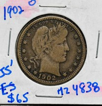 1902O Silver Barber Quarter Dollar 25¢ Coin Lot# MZ 4838 image 1