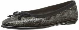 Aerosoles Women's Fast Bet Leather Closed Toe Ballet Flats, Black Snake 11 WIDE - $26.68