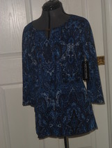 NOTATIONS KNIT TOP SHIRT SIZE S STRETCH LIGHTWEIGHT BLUE PAISLEY NWT - $17.99