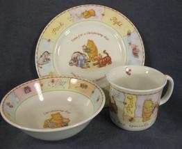 Royal Doulton Winnie The Pooh Christening Set 3 Piece Child Plate Bowl Mug  - $32.95