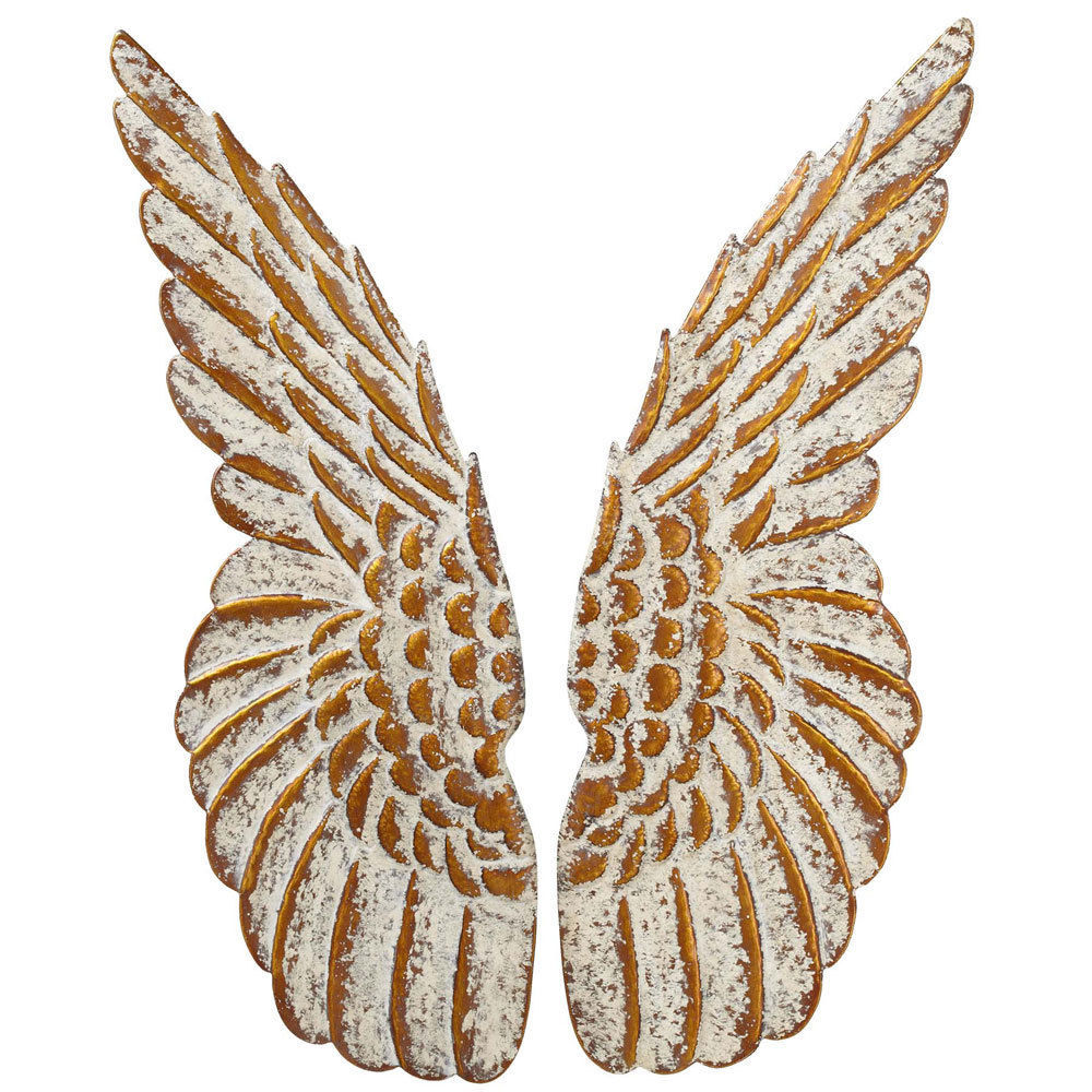 Chic Angel Wings Iron Wall Sculpture Decor Gold & Ivory,10'' x 33''H.