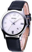 Seiko men analog round case classic white case with white dial SGEE11 - $126.72