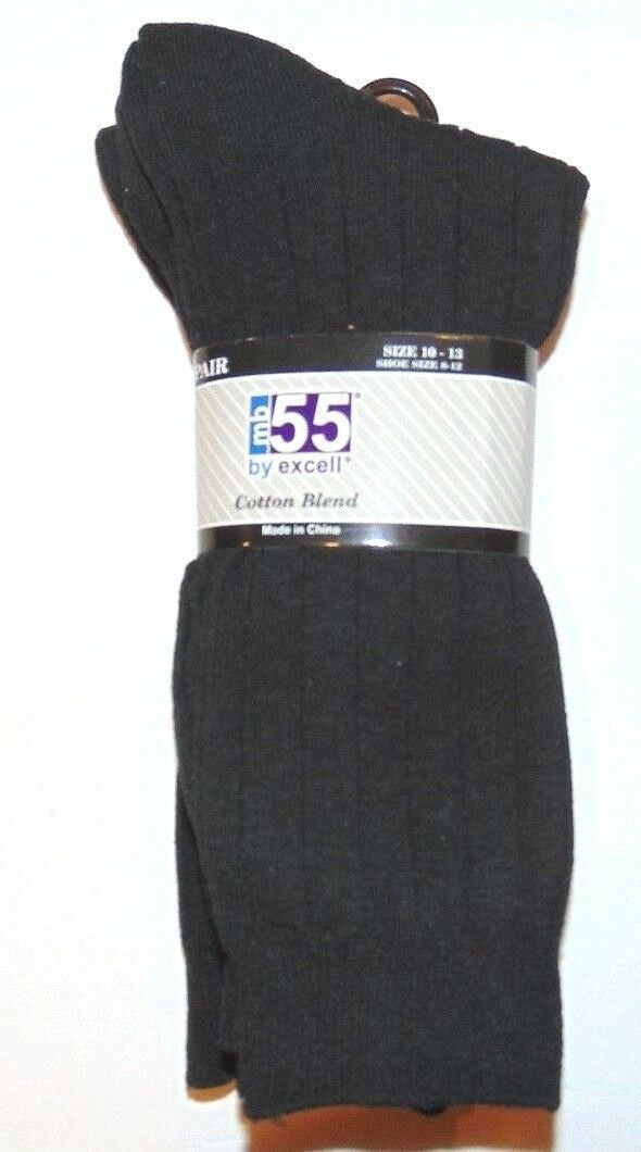 Primary image for Crew Socks, MB55-by Excell Crew-Socks Black, 6 PACK