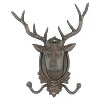 Cast Iron Deer Head Double Hook Wall Key Rack Holder Hooks Coat Hook Hom... - $34.93