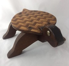 VTG Old Handmade Wood Turtle Plant Stand Decor - $49.99