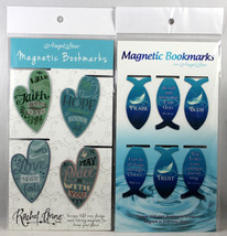 Magnetic Bookmarks 10 Set NEW Heart And Fish Shape Bible Messages Fold-Over - $10.38