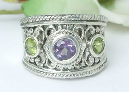 Sterling Amethyst and Peridot Band Gemstone Ring Size 7 - $48.00