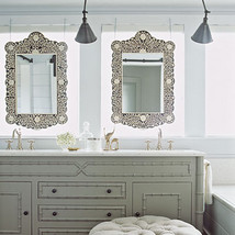 Anthropologie French Moroccan Bone Inlay Rectangular Wall Mirror Vanity ... - £376.66 GBP