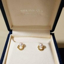 MIKIMOTO Authentic 4mm Akoya Pearl K18 2Way Earrings Used Japan - $514.99