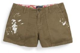 Ralph Lauren Girls\u0026#39; Paint Splatter Cargo Shorts, Green , Size 8,