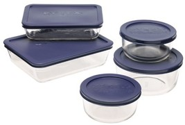 Pyrex Simply Store 10-Piece Glass Food Storage Set with Blue Lids - $31.79