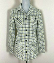 VTG Womens Yellow and Black Checkered Plaid Button Front Blazer Jacket S... - $26.72
