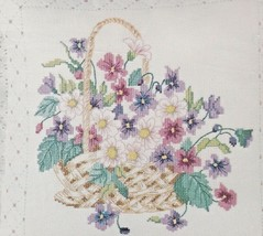 Counted Cross Stitch Kit Basket Of Violets Pillow Flowers Something Special - $22.87