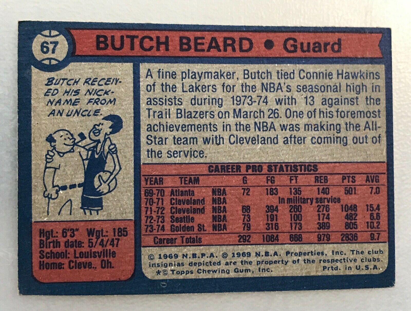 1974-75 Topps #67 Butch Beard Warriors