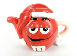 M&M Candies Character Galerie Teapot, Red Male w/Santa Hat Cover, Arm Ha... - $14.65