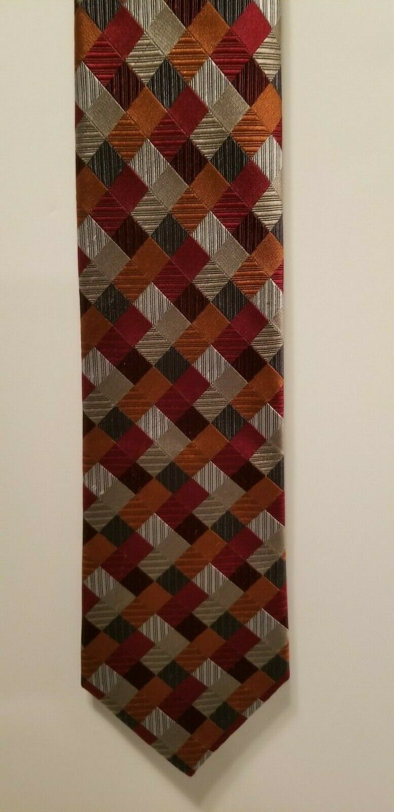 Sexy Geoffrey Beene 100% Silk Red Blue Silver Patchwork Diamonds Tie Necktie image 5