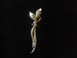 Vintage brooch pin marcasite clear rhinestone floral lily, rose design L... - $18.40
