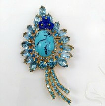 Juliana Blue Turquoise Matrix Brooch with Glass Flowers and Rhinestones - $79.99