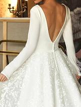 Booma Lace Long Sleeve V-neck Backless Satin Wedding Gown Plus Sizes image 4