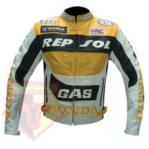 HONDA GAS REPSOL YELLOW MOTORBIKE MOTORCYCLE ARMOURED COWHIDE LEATHER JA... - $194.99