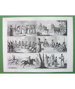 PERSIA People Costumes Wedding Meals - SUPERB Antique Print - $14.85