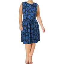 Anne Klein Womens Blue Pleated Circle Print Wear To Work Dress Blue Blac... - $39.00