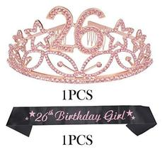 26th Birthday Gifts for Women, 26th Birthday Tiara and Sash Pink, Happy 26th Bir image 8