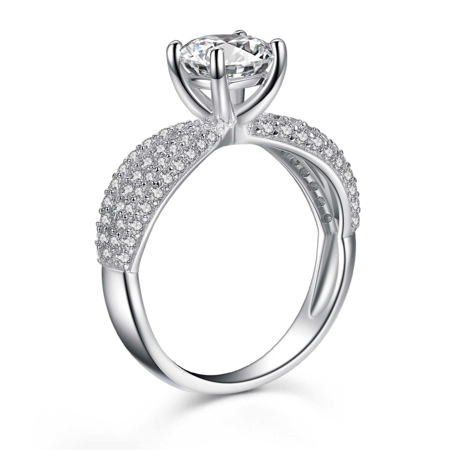 Women's 925 Sterling Silver Round Cubic Zirconia ...