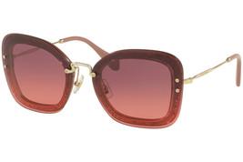 Miu Miu Reveal Glitter Mu 02TS Gold Raspberry Pink Round Mirrored Sunglasses - $204.47