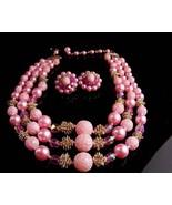 Vintage pink Sugar bead necklace - Vintage clip on earrings - 3 strand J... - $85.00