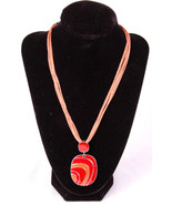 "Pendant Necklace-Orange Red Dangle-15""-Jewelry-Ring Clasp-Light Orange Cord - $24.30"